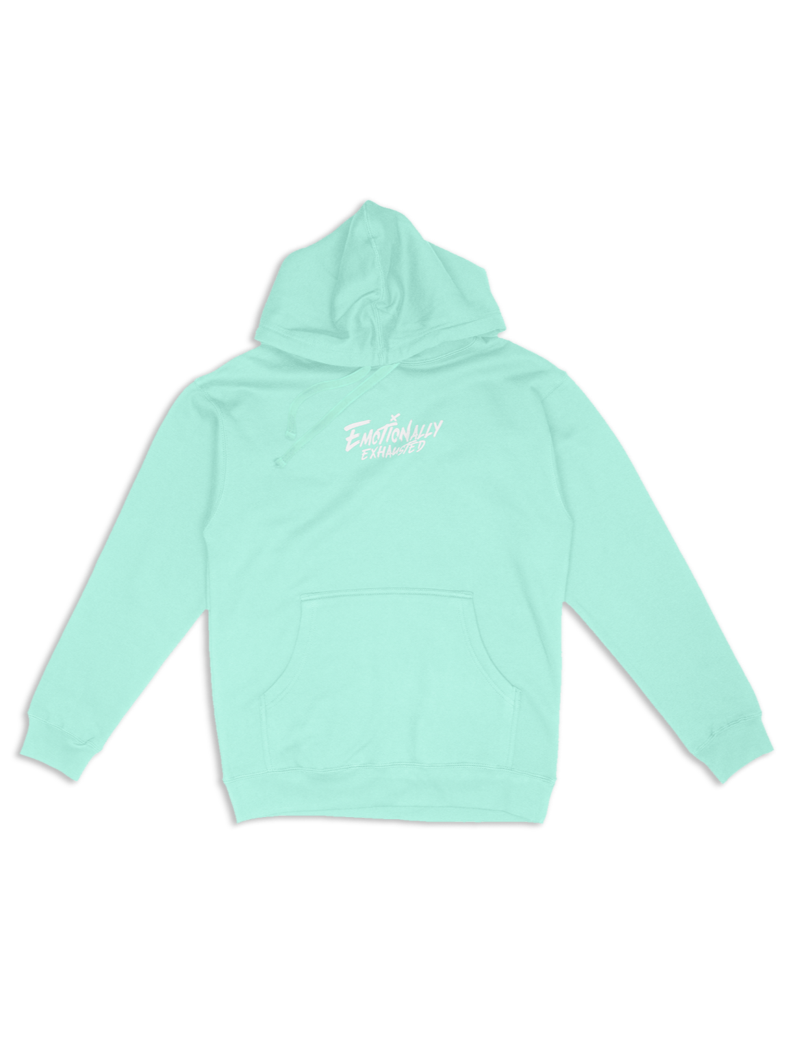 EMOTIONALLY EXHAUSTED MINT PASTEL HOODIE product image (1)