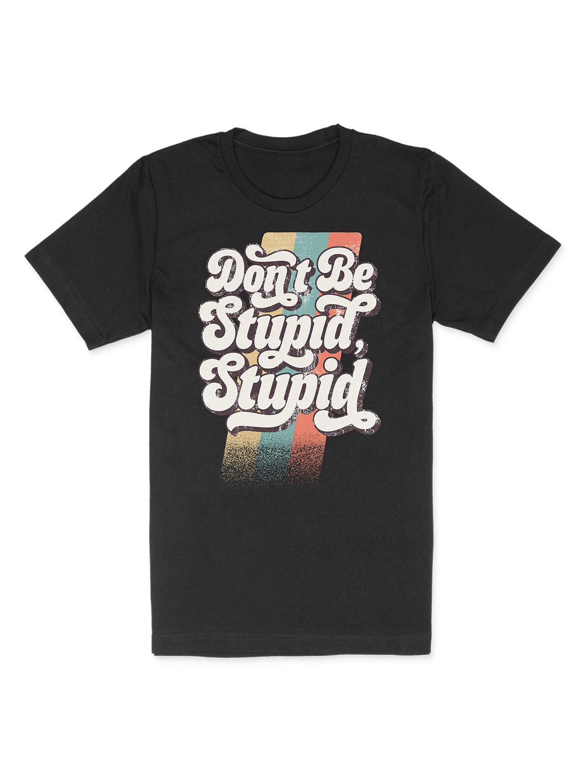 DON'T BE STUPID, STUPID BLACK VINTAGE T-SHIRT product image (1)